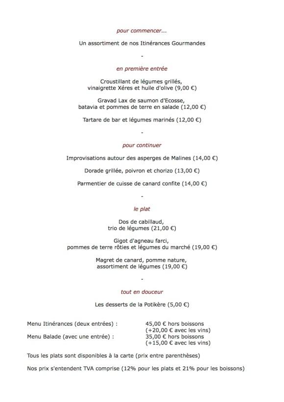 Le menu de juin au restaurant