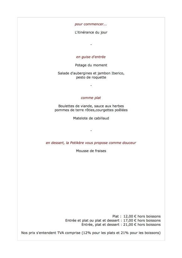 Notre menu de la semaine, du 25 au 28 juin, le midi
