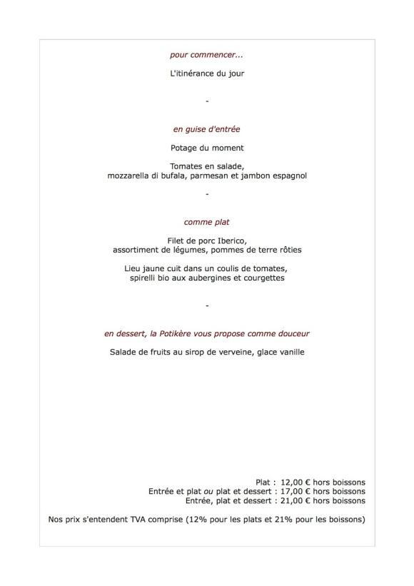 Le menu de cette semaine, 9 juillet