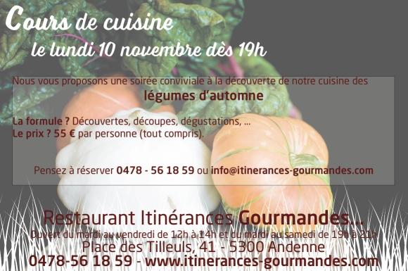Cours de cuisine sur les légumes d'automne